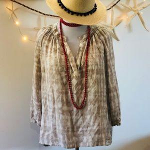 Max Studio Boho Silk Peasant Pullover Top Tie Dye